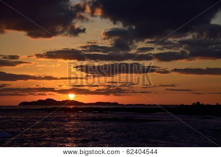Sunset Landscape From Of Jeju Island, Korea
