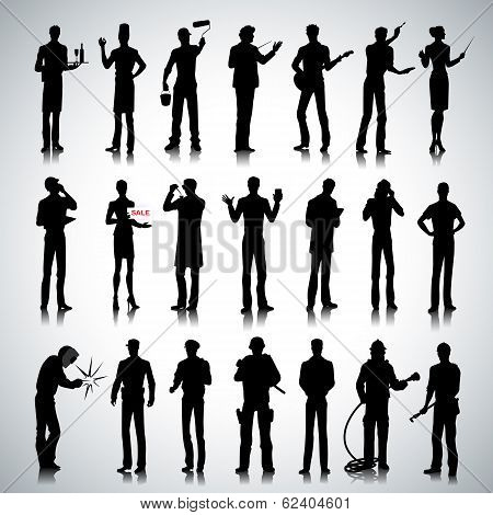 SilSilhouettes Of Different Professions Men