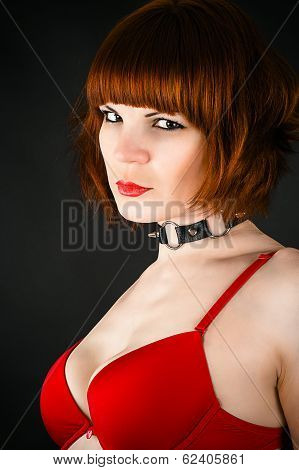 beautiful woman with a collar on the neck