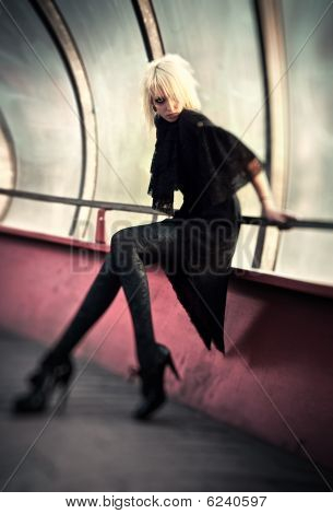 Goth Woman In Industrial Tunnel