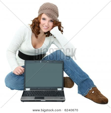 Beautiful Teen With Laptop