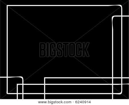 Black Background With Rough White Line Design And Copy Space