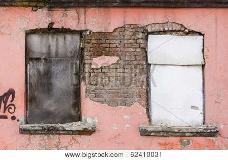 Fragment Of Facade Of An Old Devastated Building