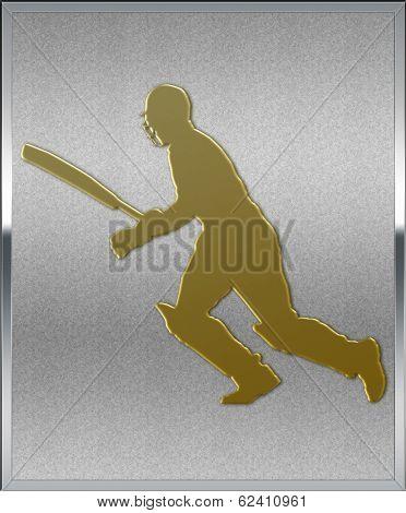 Gold On Silver Cricket Batsman Running Sport Emblem