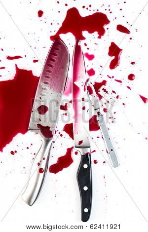 Murder. Knife in pool of blood