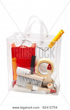 Bag With Painting Tools - With Clipping Path
