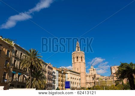 Valencia Plaza de la Reina square with Cathedral and Miguelete at Spain