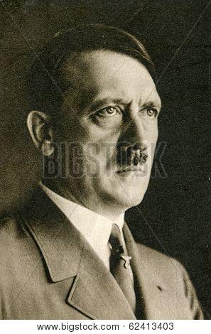 BERLIN, GERMANY, CIRCA 1939 - Vintage portrait of Adolf Hitler, leader of nazi Germany