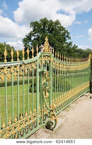 A Metal Fence Of The 18Th Century In Potsdam, Brandenburg, Germany