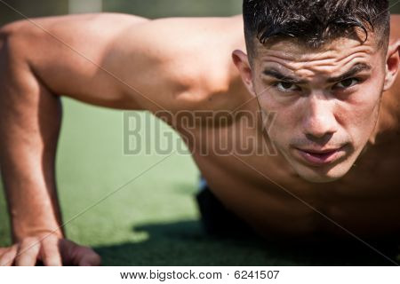 Hispanic Athlete Push-up