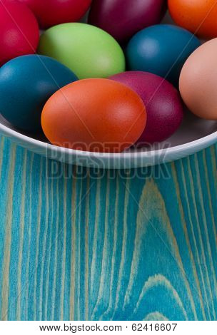 Easter Eggs In The Blue  Wooden Background