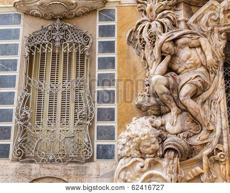 Valencia Palacio Marques de Dos Aguas palace facade in alabaster at Spain