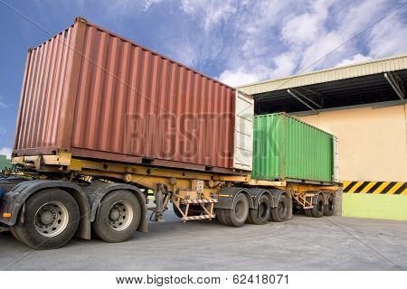 Trailers Parking At Warehouse To Load Products