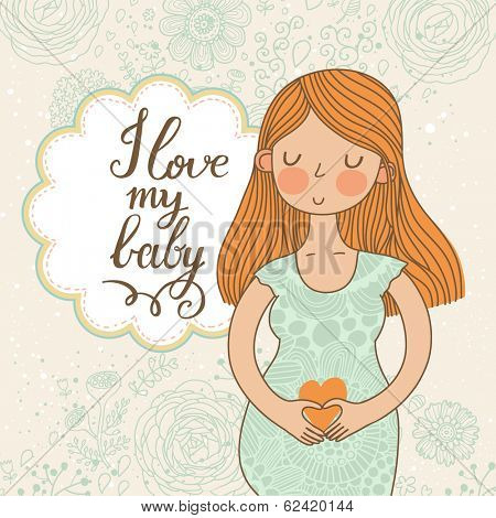 Cute romantic shower card with happy pregnant woman. Beautiful lady loves her baby. Floral vintage design