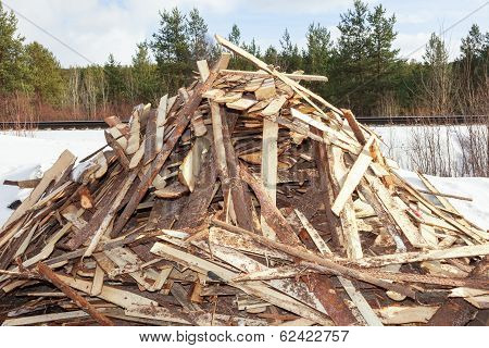 Pile Of Boards Procured As Firewood