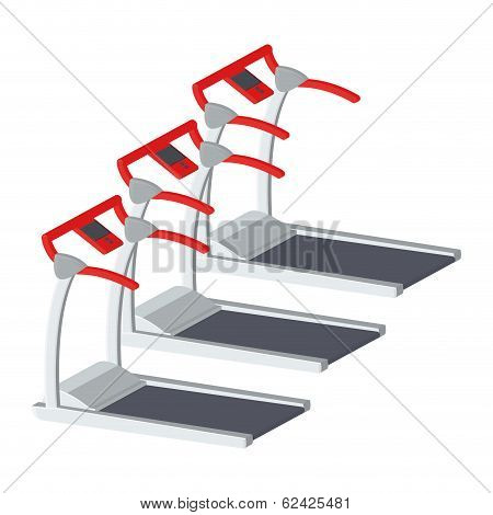 Vector Treadmills Illustration Isolated On White Background