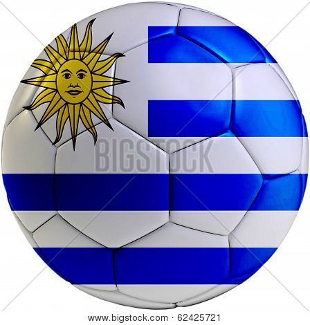 Soccer Ball With Uruguayan Flag