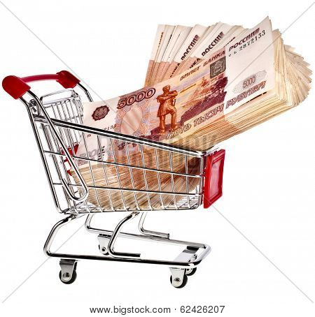 Shopping basket cart Full One Million Russian Rubles  - isolated on white background