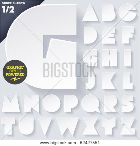 Modern flat alphabet for infographics with long ambient shadow. Sticker style White Upper case