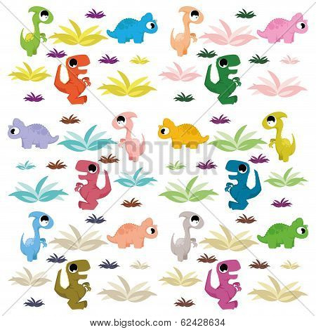 Set Of Different Cute Cartoon Dinosaurs Isolated