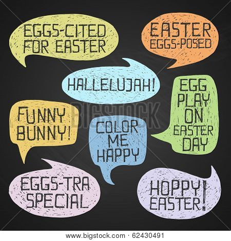 Easter Hand-drawn Colorful Humorous Phrases On Chalkboard Background