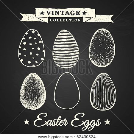 Hand-drawn Easter Eggs - Collection Of Eggs On Chalkboard Background