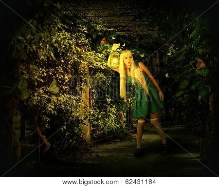 Young Blond Woman Walking Into Enchanted Forest.