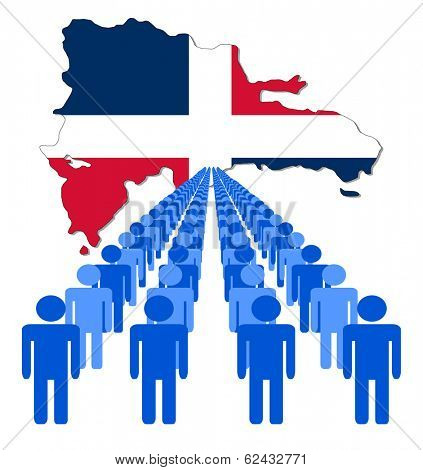 Lines of people with Dominican Republic map flag vector illustration