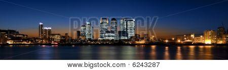 Canary Wharf night panorama.