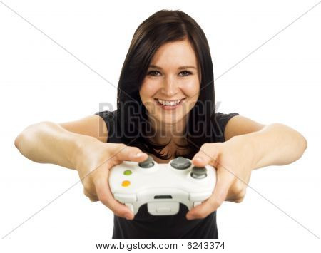 Smiling Girl With Remote Video Game Controller