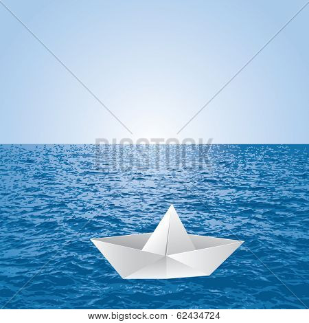 vector illustration of the paper boat on the sea