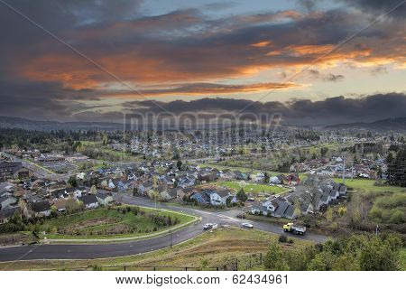 Cloudy Sunset Over America Suburban Residential Town
