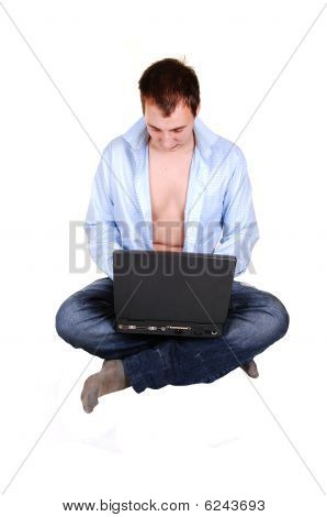 Teen With Laptop And Open Shirt.