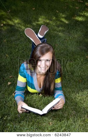 Close Up On A Woman Reading A Book