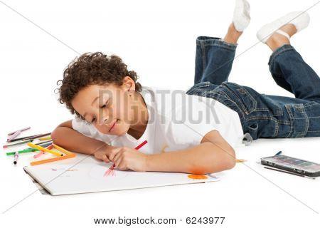 Boy Zeichnung, isoliert auf weiß Zwillingsvulkane