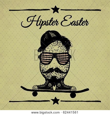 Hipster Easter Vintage Poster With Egg.