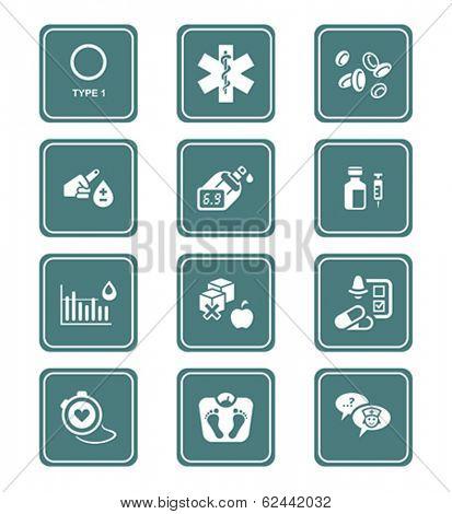 Diabetes health-care life teal icon-set