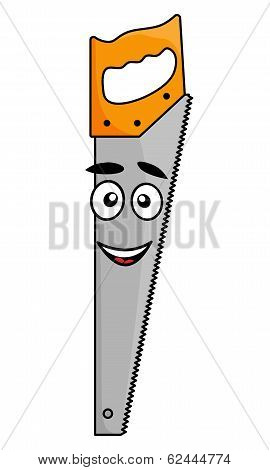 Cartoon handsaw with a smiling face