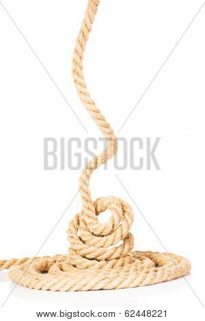 Enrolled rope. Isolated on white.