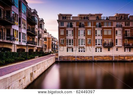 Long Exposure At Sunset Of Waterfront Condominiums At The Inner Harbor, Baltimore, Maryland.