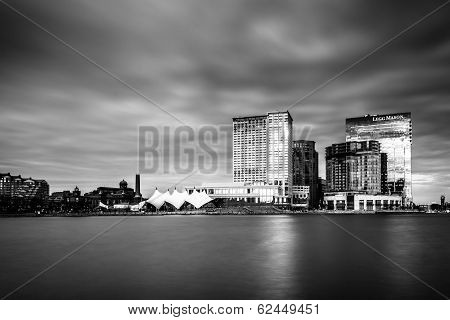 Long Exposure Of Skyscrapers In Harbor East, Seen From The Inner Harbor, In Baltimore, Maryland.