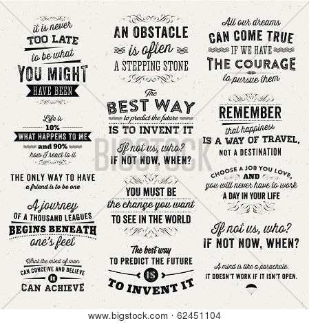 Set of Quotes Typographical Posters, Vector Design. Motivational Quotes for Inspirational Art.