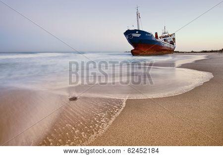 Ashored ship on beach
