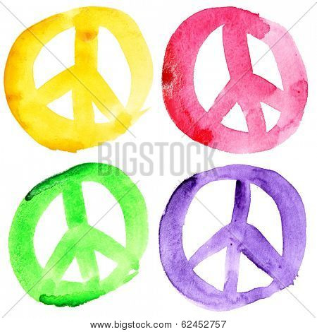 Peace signs isolated over the white background