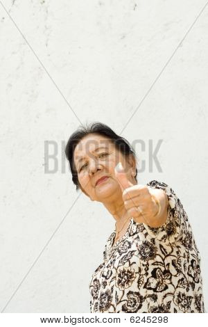 Senior Woman Giving Thumb Up