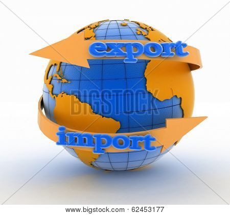 Import and export arrow around earth for business. Direction concept. 3d illustration on white background