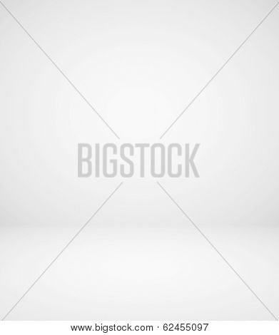 Abstract illustration background texture with light gray gradient wall and floor. Black and white cement interior structure. Steel sides of dark empty room. Successful space for your text and picture.
