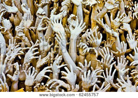 Hands From Hell At Wat Rong Khun In Chiang Rai; Thailand