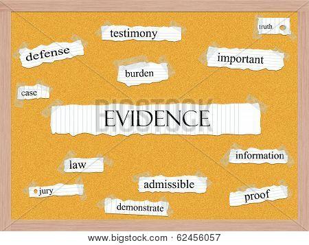 Evidence Corkboard Word Concept