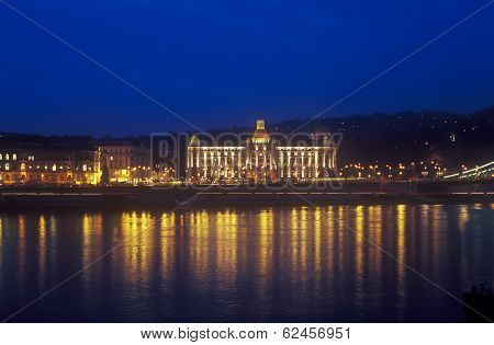 Gellert Hotel Palace In Budapest At Night.